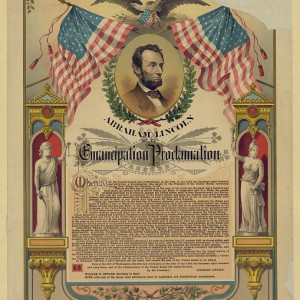 Abraham Lincoln and His Emancipation Proclamation, The Strobridge Lith. Co, 1888.  Source: LOC