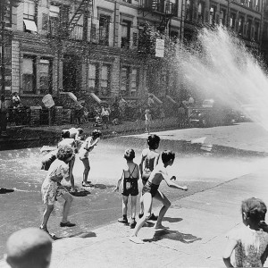 Children escape the heat of the East Side by using fire hydrant as a shower bath. New York, NY, June 1943. Source: Library of Congress