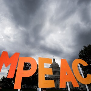 A coalition of progressive activist groups, including MoveOn.org, hold a rally at the Capitol calling on Congress to impeach President Trump on Thursday, Sept. 26, 2019. (Photo By Bill Clark/CQ Roll Call via AP Images)