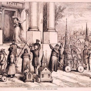 """""""Church and state - No Union upon any terms"""" by Thomas Nast in Harper's Weekly, Feb. 25, 1871.  Source: Library of Congress"""
