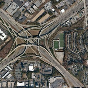 Spaghetti Junction: The Tom Moreland Interchange, Atlanta. Wikimedia Commons.