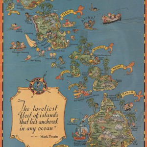 Cartograph by Ruth Taylor White, for the Hawaii Tourist Bureau, circa 1930. Via the University of Oregon's Knight Library.