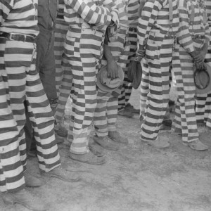 Convicts from the Greene County prison camp at the funeral of their warden who was killed in an automobile accident, Georgia. May 1941. Source: Library of Congress