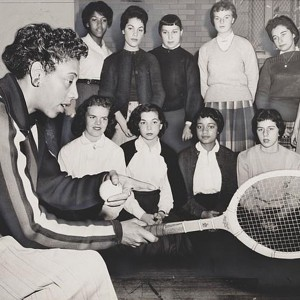 Althea Gibson, U.S. and Wimbledon tennis champion, gives some pointers on the game which has brought her international fame, December 1957. Source: World Telegram & Sun photo by Ed. Ford via Library of Congress