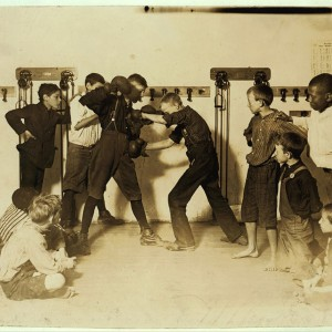 """The """"Manly art of self-defense"""" Newsboys' Protective Association, Cincinnati, Ohio, August 1908. Source: Library of Congress"""