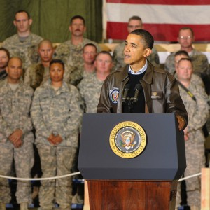 President Obama at Bagram Airfield, Afghanistan, December 3rd, 2010 (Photo by Staff Sgt. David House, 17th Public Affairs Detachment, via Wikimedia Commons).