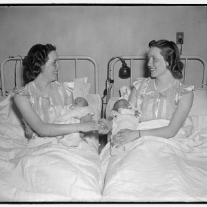 Twin mothers with their newborn babies at Columbia Maternity Hospital, Washington, D.C., April 7th, 1939 (Library of Congress).