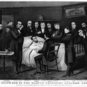 """""""The death bed of the martyr President Abraham Lincoln. Washington, Saturday morning April 15th 1865, at 22 minutes past 7 o'clock."""" By Currier & Ives. Library of Congress."""