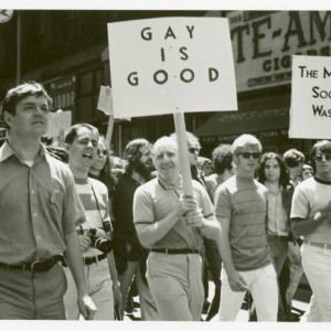 Frank Kameny and Mattachine Society of Washington members marching, 1970. Source: New York Public Library Digital Collections