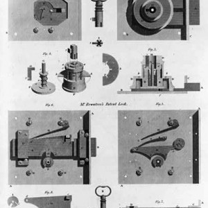 1814 wood engraving of two types of locking mechanisms. (Library of Congress).