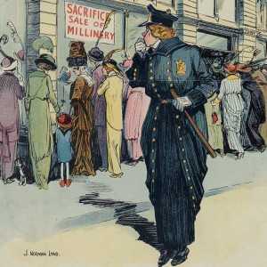 """""""The Lady Cop. She will never be a success on some """"fixed posts."""" Illus. in: Puck, v. 73, no. 1885 (1913 April 16), cover. Source: Library of Congress"""
