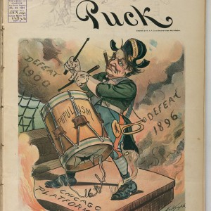 William Jennings Bryan beating the drum of populism, cover of 'Puck' magazine, 1901. Credit: Library of Congress.