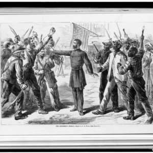 """""""The Freedmen's Bureau"""" Man representing the Freedman's Bureau stands between armed groups of European Americans and African Americans. Drawn by A.R. Waud. Source: Library of Congress"""