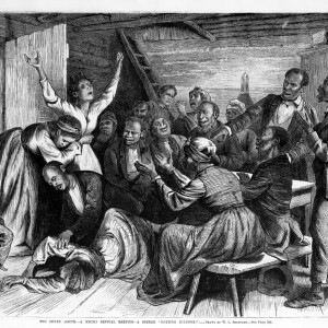 """""""The Sunny South -- A Negro Revival Meeting -- A Seeker 'Getting Religion,'"""" by W.L. Sheppard. <i>Leslie Frank's Illustrated Newspaper</i>, 1873. Library of Congress."""