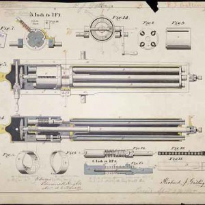 The Gatling Gun patent drawing (1865). The gun was patented on May 9, 1865, and was officially adopted by the U.S. Army on August 21, 1866. Courtesy of the National Archives.