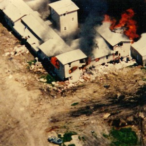 Fire spreads rapidly to other second floor bedrooms at the Branch Davidian Mount Carmel compound on April 19, 1993. Source: FBI via Wikimedia Commons