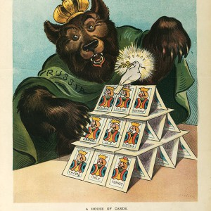 """""""A house of cards"""" illustration by Udo Keppler in """"Puck,"""" Jan. 20, 1904. Source: Library of Congress"""