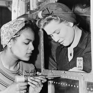 Dora Miles (left?) and Dorothy Johnson are employed in the Long Beach Plant of the Douglas Aircraft Company, Long Beach, Calif., between 1935 and 1945. Source: Library of Congress