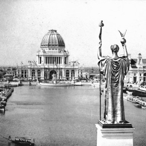 Looking West From Peristyle, Court of Honor and Grand Basin of the 1893 World's Columbian Exposition (Chicago, Illinois). Source: Wikimedia Commons