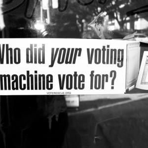 """Who did your voting machine vote for?"" Voting Machine Bumpersticker by GalacticWanderlust via Flickr. Dec. 15, 2006"