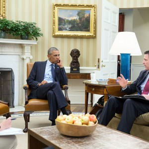 President Barack Obama receives an update in the Oval Office from FBI Director James Comey and Homeland Security Advisor Lisa Monaco on the mass shooting in Orlando, Fla., June 12, 2016. Source: Wikimedia Commons
