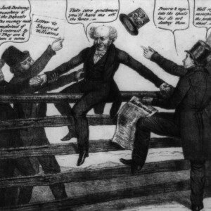 Rival factions of the Democratic Party tussle over President Martin Van Buren. Lithograph, 1837. Library of Congress.