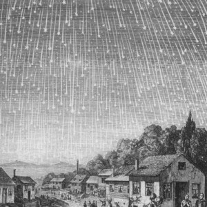 """A depiction of the 1833 Leonid meteor shower, produced from an engraving by Adolf Vollmy in 1889 for the Adventist book """"Bible Readings for the Home Circle."""" Source: Wikimedia Commons"""