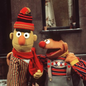 """A scene of the US children's series """"Sesame Street"""" with puppets Ernie (r) and Bert (l), photographed in March 1976. Photo by: Dieter Klar/picture-alliance/dpa/AP Images"""
