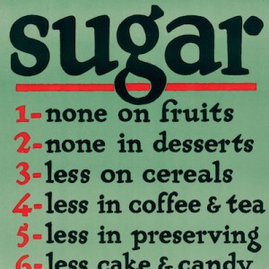 """""""Sugar - save it!"""" Detail from U.S. Food Administration poster, c1917 (U.S. National Archives)."""