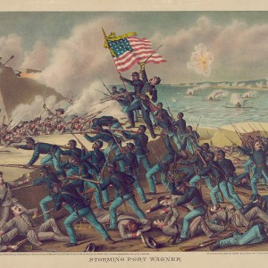 """""""Storming Fort Wagner,"""" chromolithograph by Kurz & Allison-Art Publishers, shows Union soldiers storming the walls of Fort Wagner on Morris Island, South Carolina, and engaging some Confederate soldiers in hand-to-hand combat. Source: Library of Congress"""