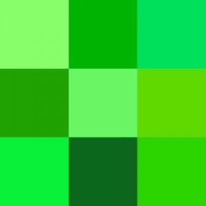 Shades of green (Wikimedia Commons).