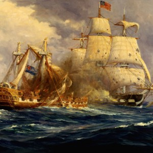 Victory of the USS Constitution over the HMS Guerriere in the War of 1812, by Anton Otto Fischer. U.S. Navy, Naval Historical Center.