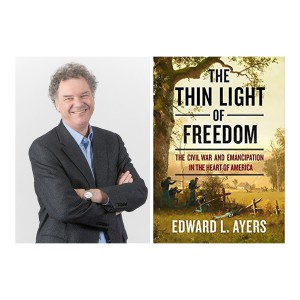 """An image of Ed Ayers alongside an image of the cover of his latest book. """"The Think Light of Freedom."""""""