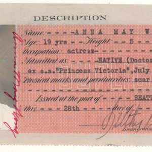 Duplicate Certificates of Identity, 1908 - 1943 - Anna May Wong. Source: National Archives
