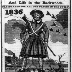 """Title page from Davy Crockett's Almanack (1836), vol. 1, no. 2, illus. with """"Crockett's method of wading the Mississippi"""" (on stilts). Source: Library of Congress"""