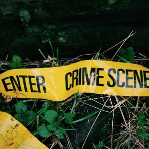 Close-up of yellow crime scene tape in the grass. Source: Alamy Stock Photos