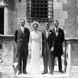 """The wedding of Duke of Windsor, Prince Edward and Mrs. Wallis Warfield was celebrated at the Cande Castle, France on June 3, 1937, near Tour. After the ceremony, the duke and """"her grace"""" agreed with the posing on the castle terrace. Left to right: Mr. Hermann Rogers witness of Mrs. Warfield, duchess, Duke of Windsor, and Major Metcalf, first former king of England's witness. (AP Photo)  Created: 6/3/1967"""