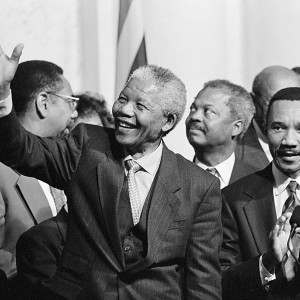 President of South Africa, Nelson Mandela with members of the Congressional Black Caucus, including Representative Kweisi Mfume, at an event at the Library of Congress. October 1994. Source: Library of Congress