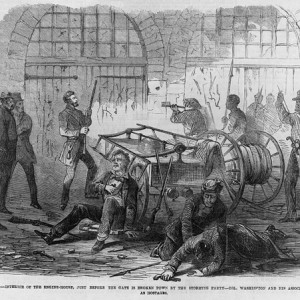 """""""Harper's Ferry insurrection - Interior of the Engine-House, just before the gate is broken down by the storming party - Col. Washington and his associates as captives, held by Brown as hostages."""" Source: Library of Congress"""