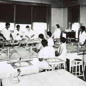 African American and white women learning to can food in cooking class kitchen between 1925 and 1930. Source: Library of Congress