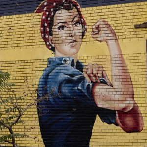 Rosie the Riveter mural on an abandoned building in Sacramento, Calif. Photograph by Carol M. Highsmith, 2012. Library of Congress.