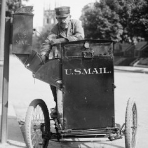 Motorcycle Postman, 1912 (Library of Congress).