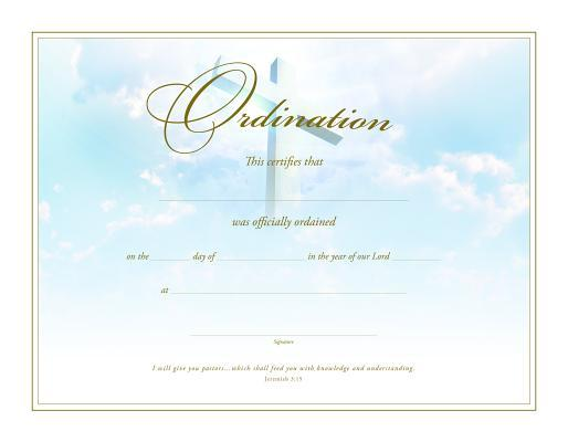 Ordination Certificate (Pk of 6) - Premium, Gold Foil Embossed