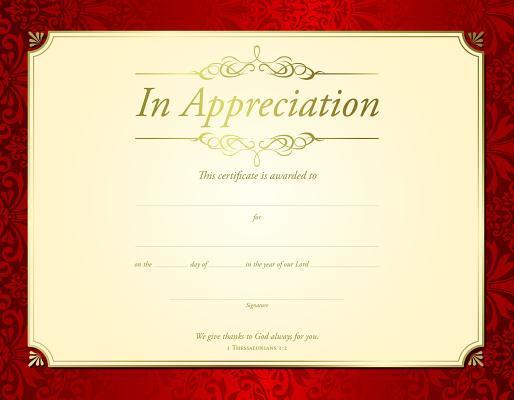 In Appreciation Certificate (Pk of 6) - Premium, Gold Foil Embossed