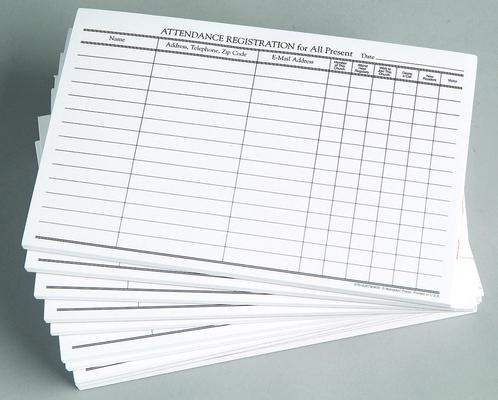 Attendance Registration Pad (Pkg of 12)