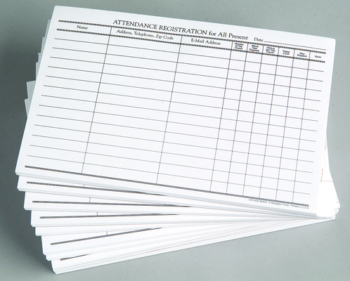 Attendance Registration Pad (Pkg of 12)