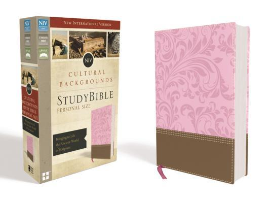 NIV, Cultural Backgrounds Study Bible, Personal Size, Imitation Leather, Pink/Brown, Red Letter Edition