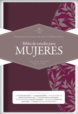 Rvr 1960 Biblia de Estudio Para Mujeres, Vino Tinto/Fucsia Simil Piel