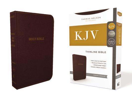 KJV, Thinline Bible, Standard Print, Imitation Leather, Burgundy, Red Letter Edition