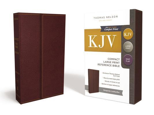 KJV, Reference Bible, Compact, Large Print, Snapflap Leather-Look, Burgundy, Red Letter Edition
